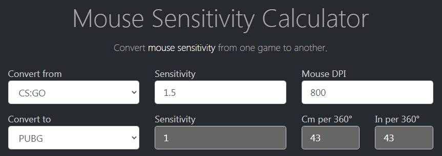 Mousesensitivity.net Mouse Sensitivity Calculator