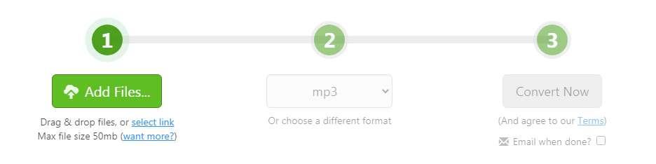 Zamzar.com Convert MP4 to MP3
