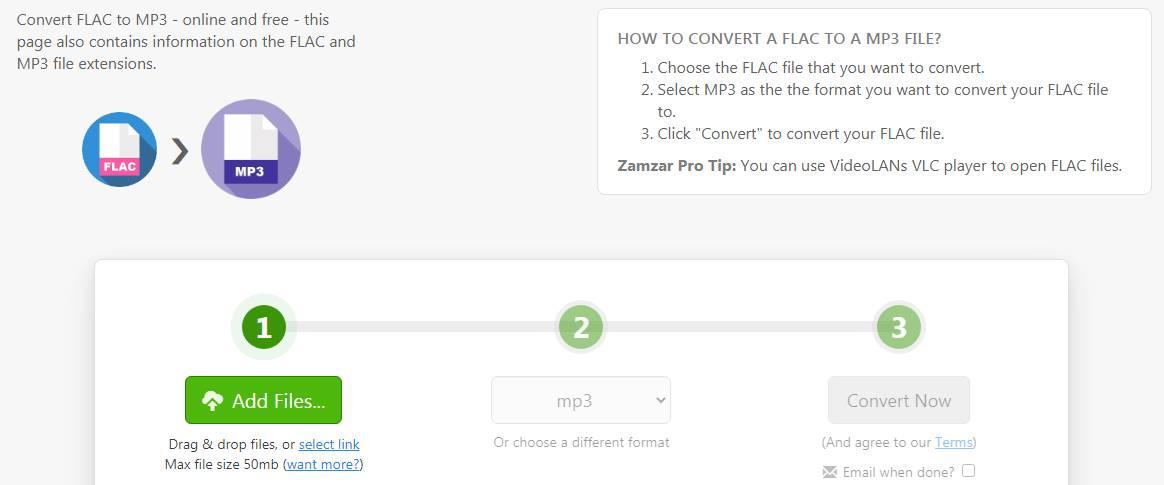 Zamzar.com FLAC to MP3